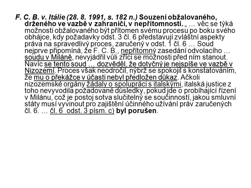 F. C. B. v. Itálie (28. 8. 1991, s.