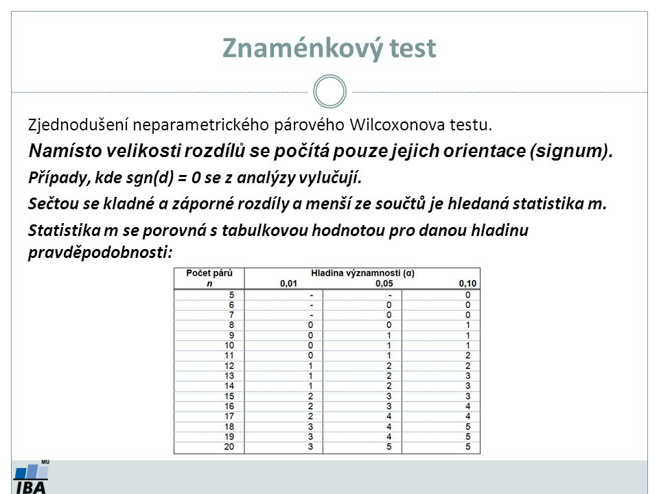 Znaménkový test Zjednodušení neparametrického párového Wilcoxonova testu. Namísto velikosti rozdílů se počítá pouze jejich orientace (signum).