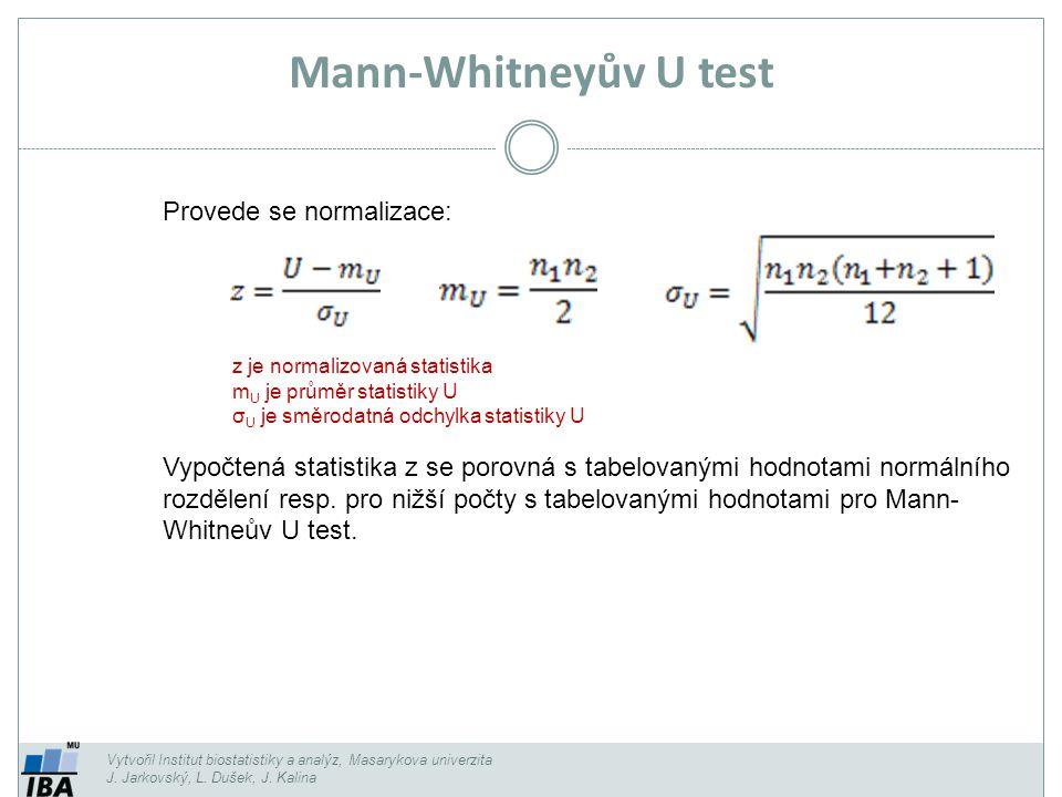 Mann-Whitneyův U test Provede se normalizace: