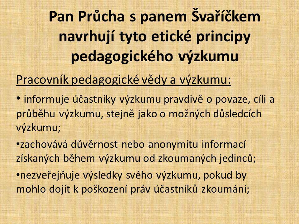 Pan Průcha s panem Švaříčkem navrhují tyto etické principy pedagogického výzkumu