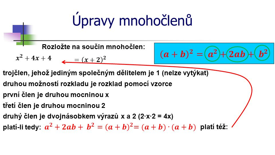 Úpravy mnohočlenů 𝒂+𝒃 𝟐 = 𝒂 𝟐 +𝟐𝒂𝒃+ 𝒃 𝟐