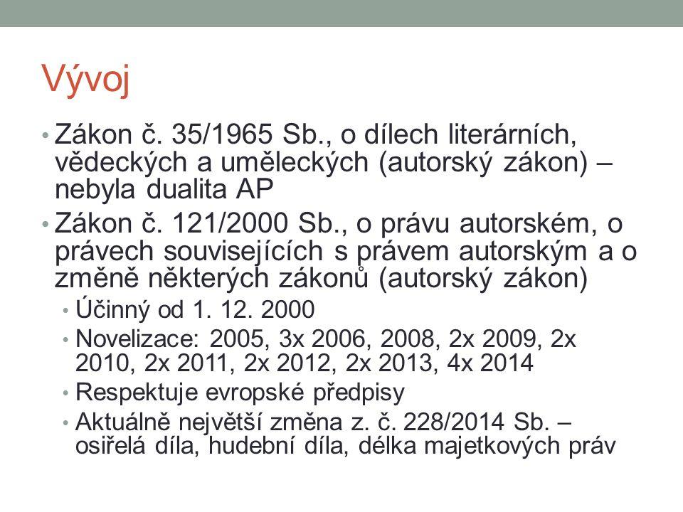 Vývoj Zákon č. 35/1965 Sb., o dílech literárních, vědeckých a uměleckých (autorský zákon) – nebyla dualita AP.