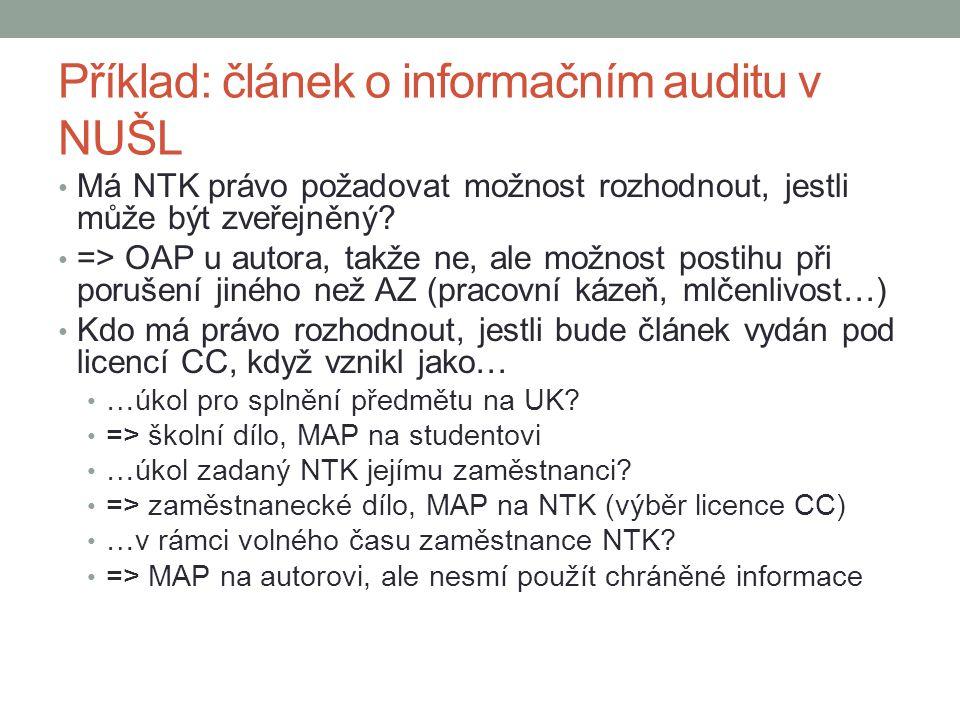 Příklad: článek o informačním auditu v NUŠL