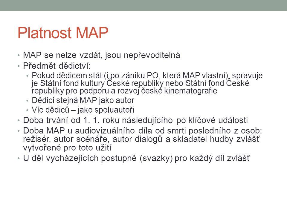 Platnost MAP MAP se nelze vzdát, jsou nepřevoditelná Předmět dědictví: