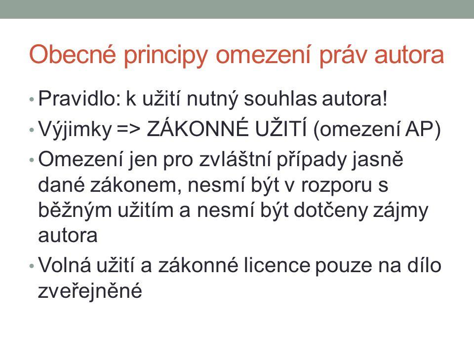 Obecné principy omezení práv autora