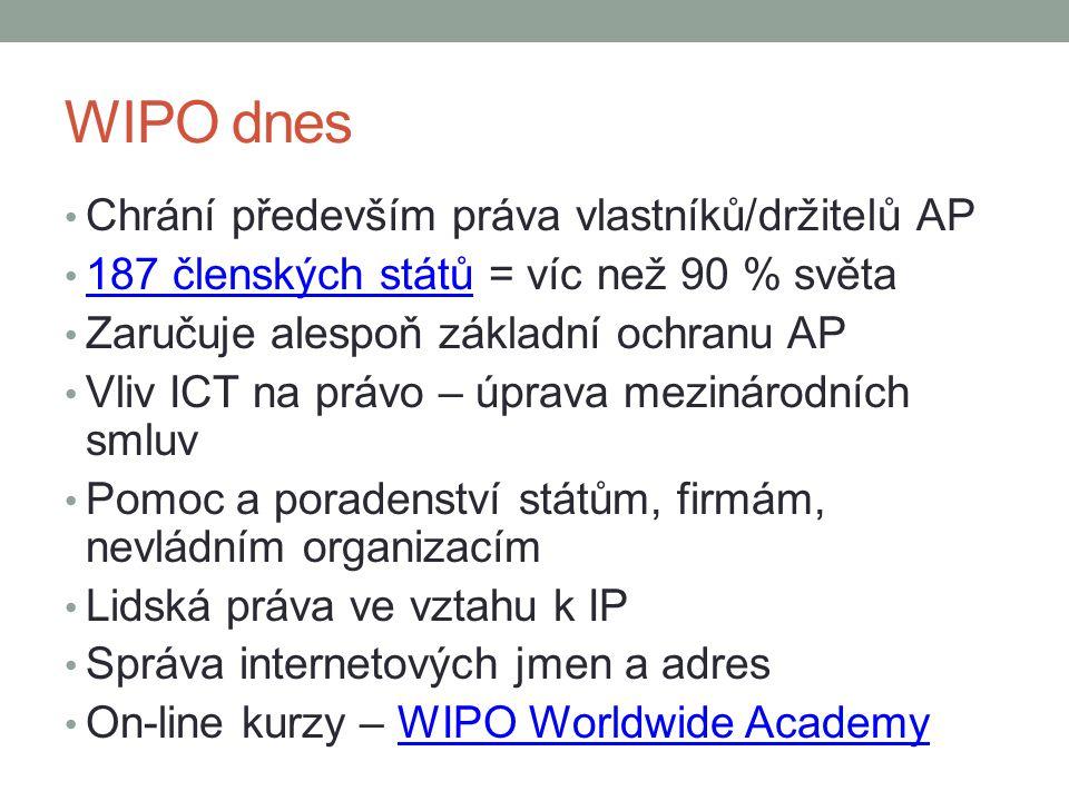 WIPO dnes Chrání především práva vlastníků/držitelů AP