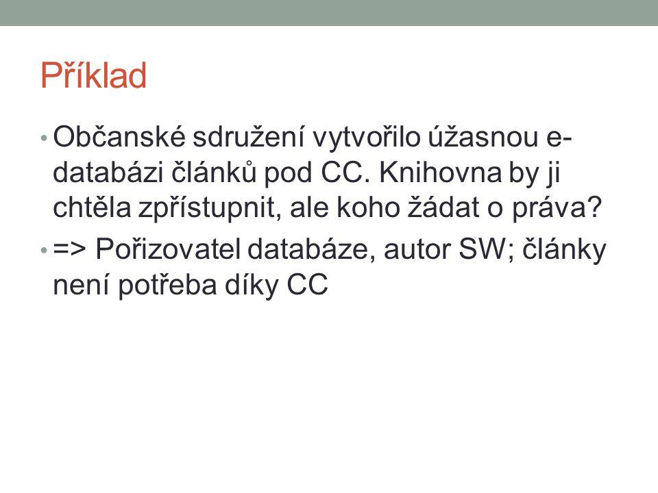Příklad Občanské sdružení vytvořilo úžasnou e-databázi článků pod CC. Knihovna by ji chtěla zpřístupnit, ale koho žádat o práva