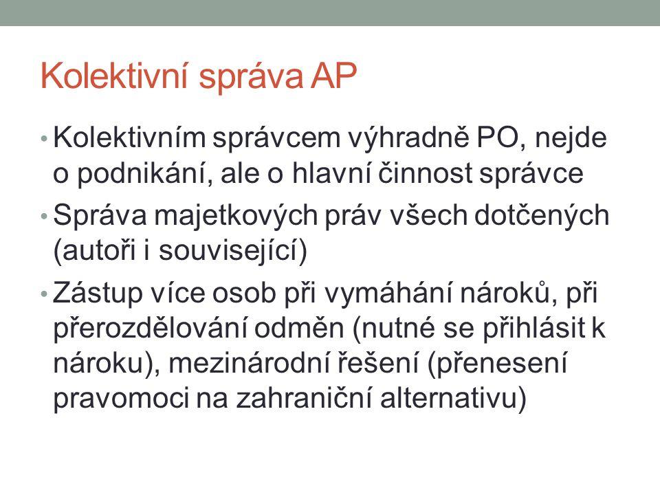 Kolektivní správa AP Kolektivním správcem výhradně PO, nejde o podnikání, ale o hlavní činnost správce.
