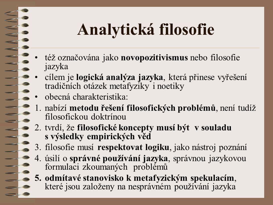 Analytická filosofie též označována jako novopozitivismus nebo filosofie jazyka.