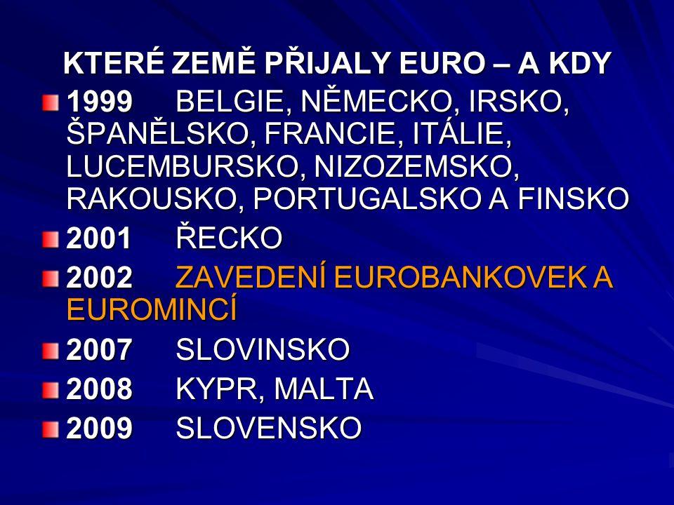 KTERÉ ZEMĚ PŘIJALY EURO – A KDY