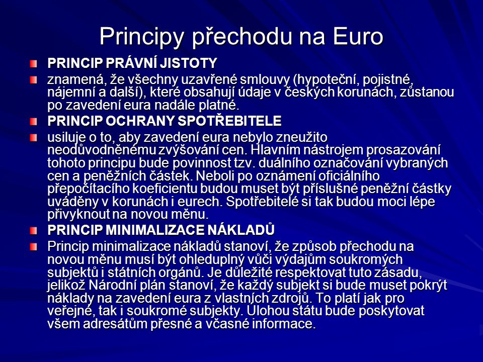Principy přechodu na Euro