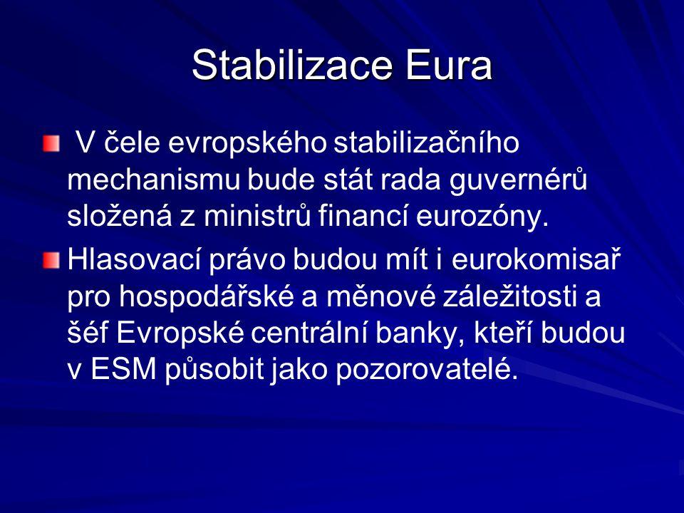 Stabilizace Eura V čele evropského stabilizačního mechanismu bude stát rada guvernérů složená z ministrů financí eurozóny.