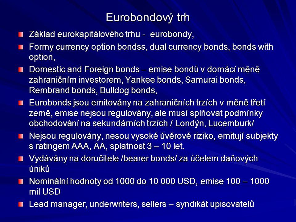 Eurobondový trh Základ eurokapitálového trhu - eurobondy,