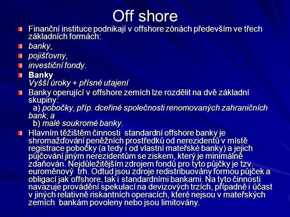 Off shore Finanční instituce podnikají v offshore zónách především ve třech základních formách: banky,