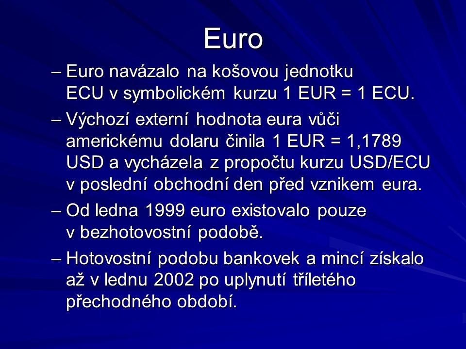 Euro Euro navázalo na košovou jednotku ECU v symbolickém kurzu 1 EUR = 1 ECU.