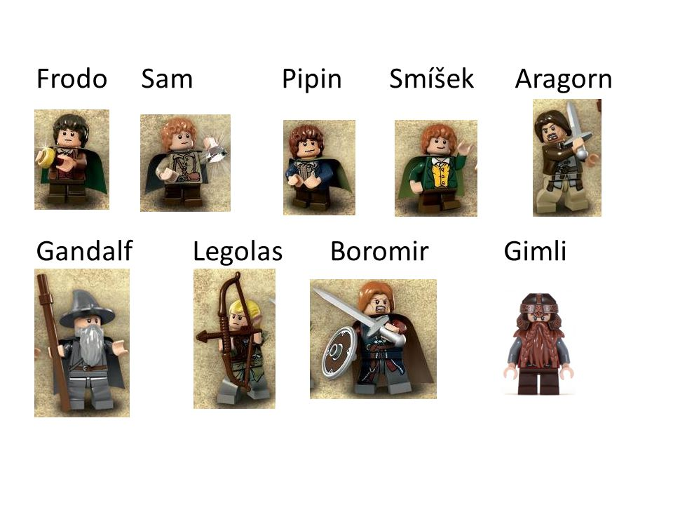 Frodo Sam Pipin Smíšek Aragorn Gandalf Legolas Boromir Gimli