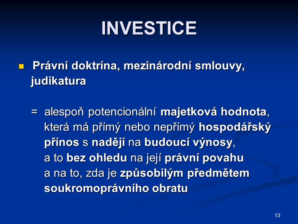 INVESTICE Právní doktrína, mezinárodní smlouvy, judikatura