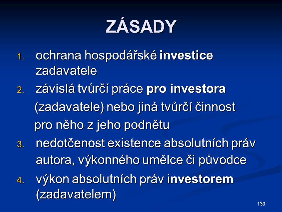 ZÁSADY ochrana hospodářské investice zadavatele