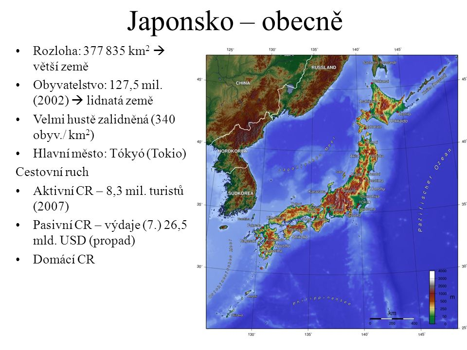 Japonsko – obecně Rozloha: 377 835 km2  větší země