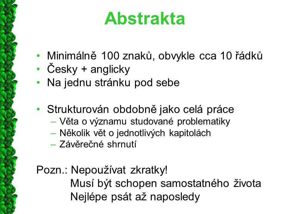 Abstrakta Minimálně 100 znaků, obvykle cca 10 řádků Česky + anglicky