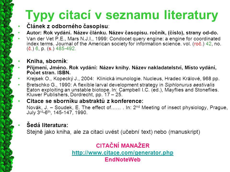 Typy citací v seznamu literatury