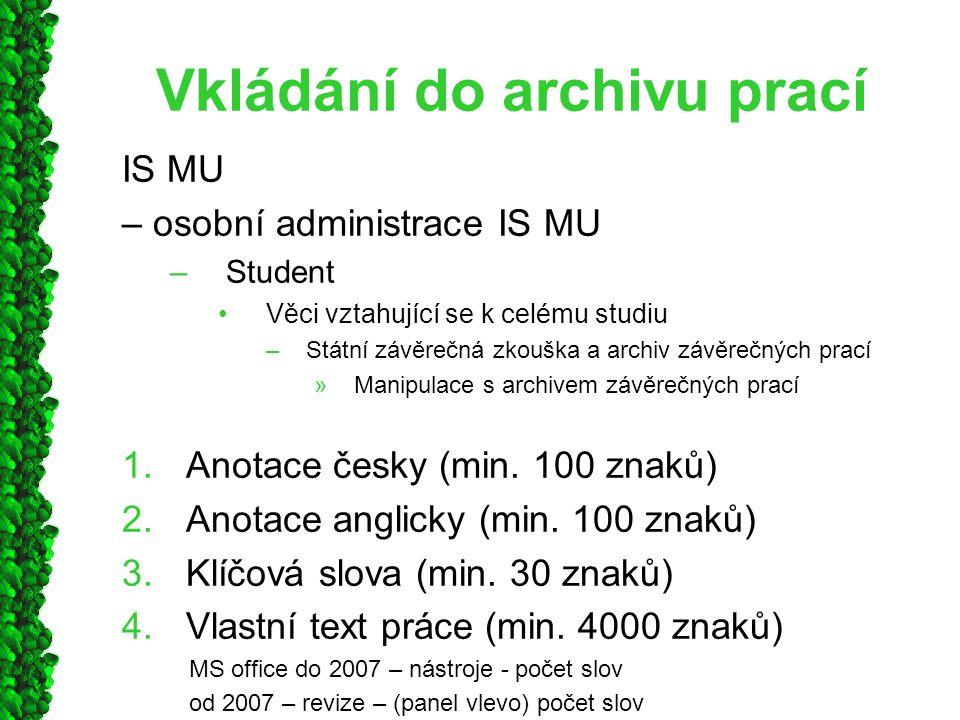 Vkládání do archivu prací