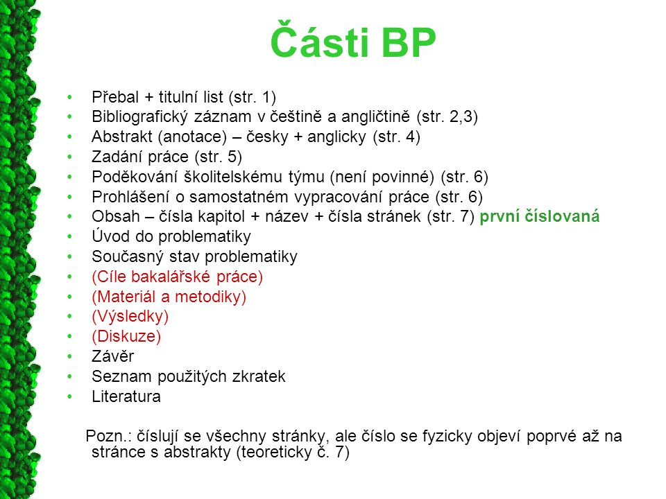 Části BP Přebal + titulní list (str. 1)