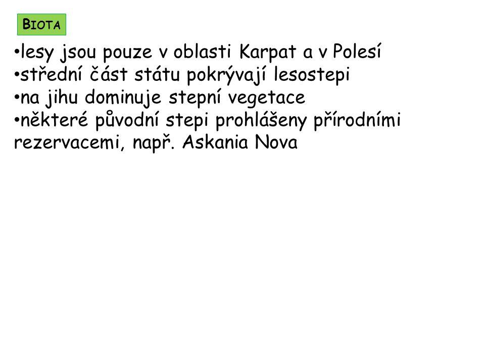 lesy jsou pouze v oblasti Karpat a v Polesí