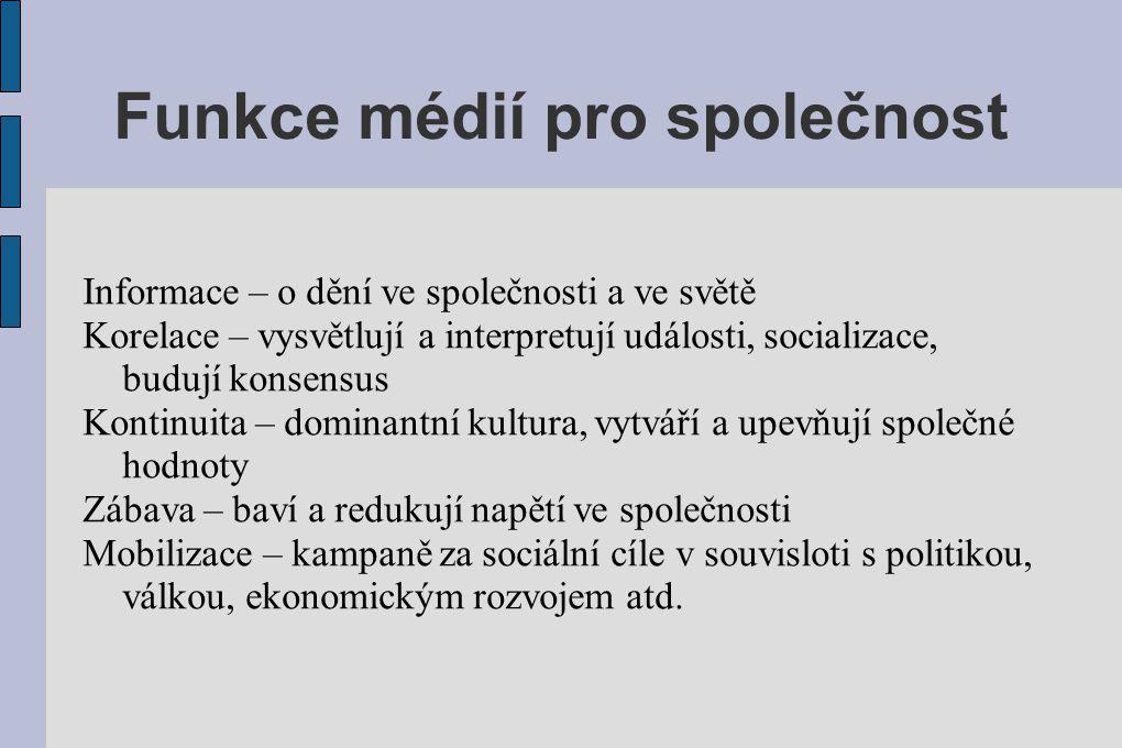 Funkce médií pro společnost