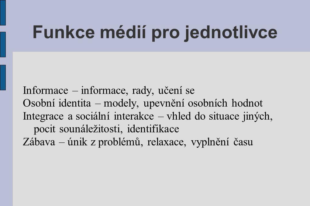 Funkce médií pro jednotlivce