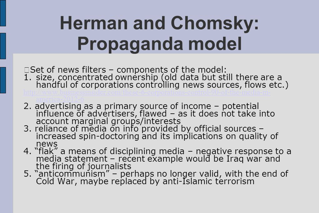 Herman and Chomsky: Propaganda model