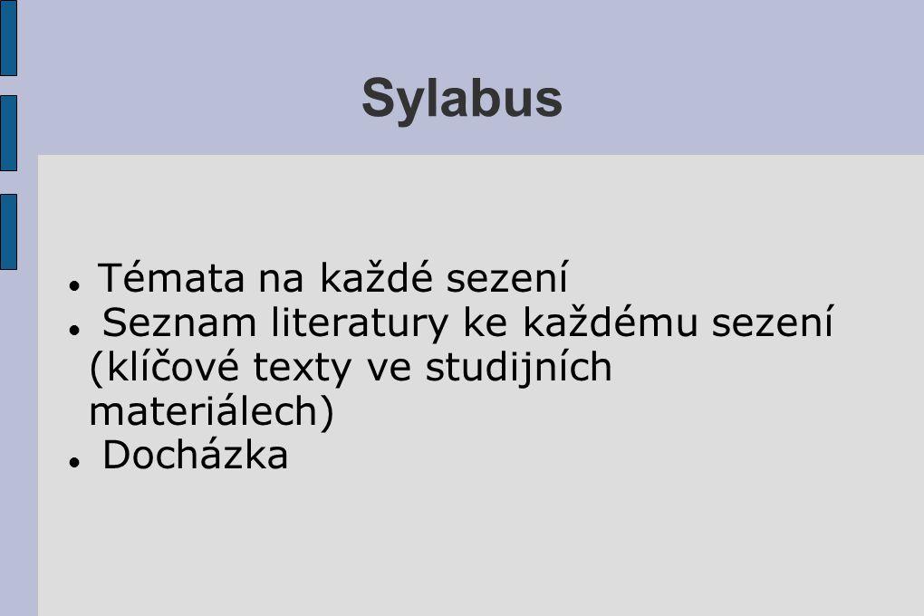 Sylabus Témata na každé sezení