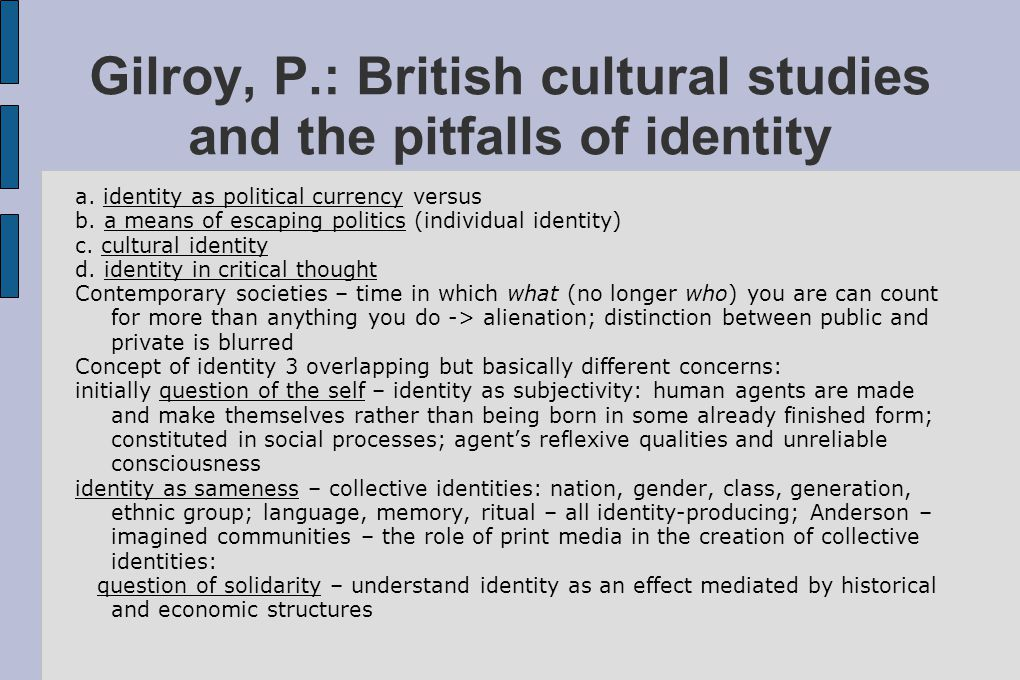 Gilroy, P.: British cultural studies and the pitfalls of identity