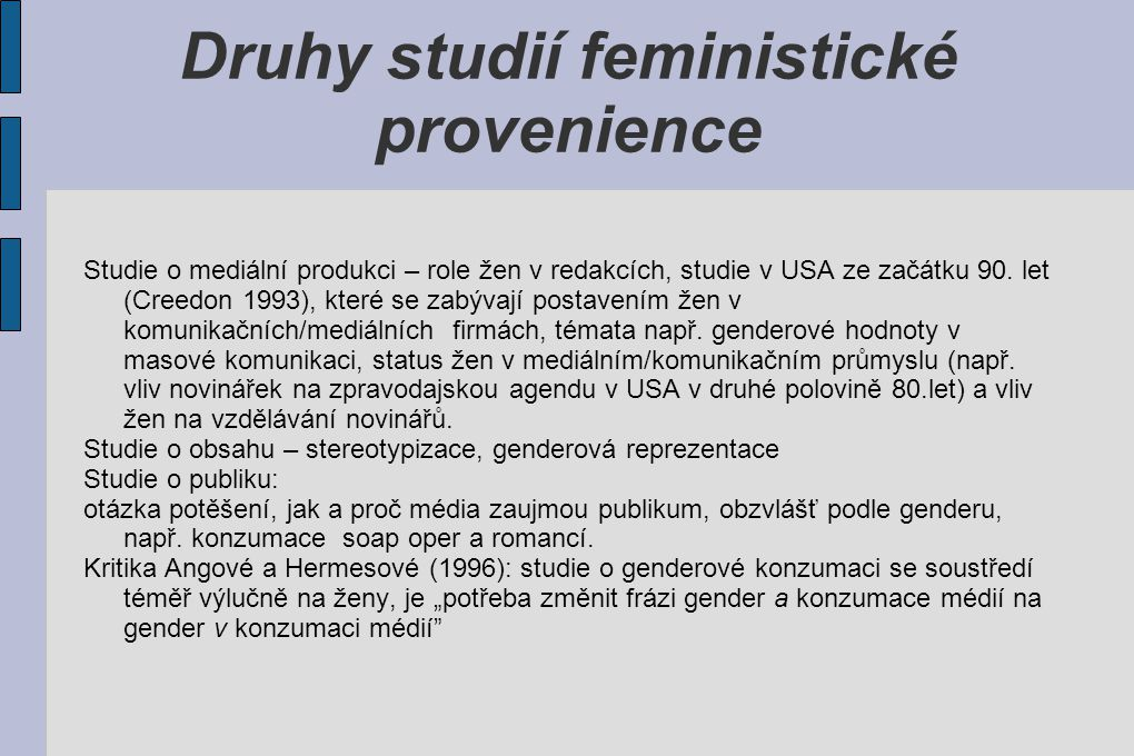 Druhy studií feministické provenience