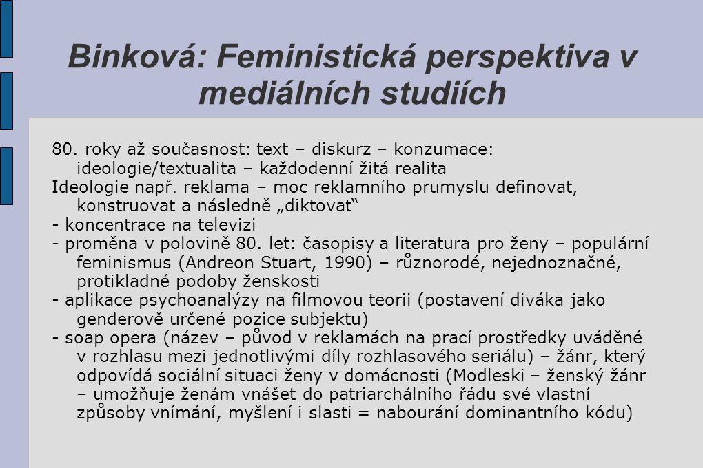 Binková: Feministická perspektiva v mediálních studiích