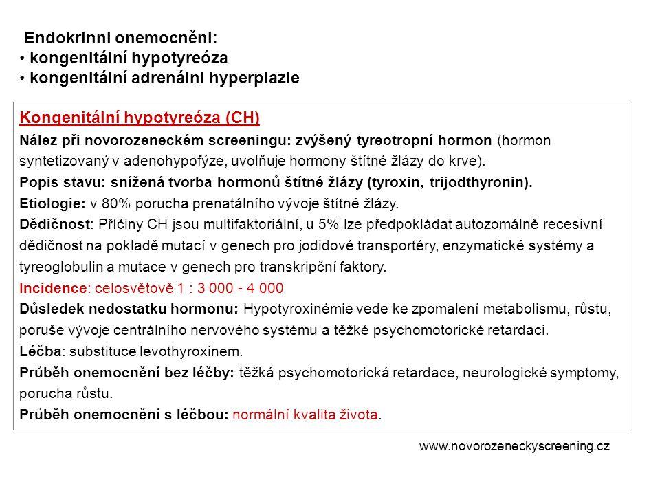 Endokrinni onemocněni: kongenitální hypotyreóza