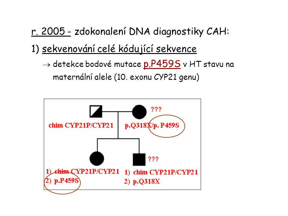 r. 2005 - zdokonalení DNA diagnostiky CAH: