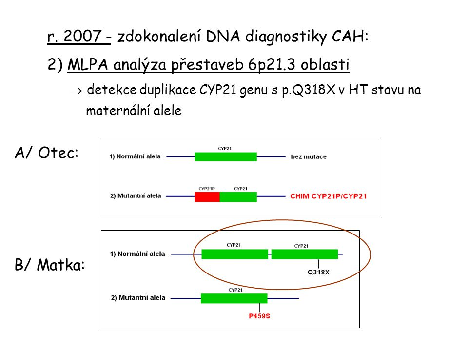 r. 2007 - zdokonalení DNA diagnostiky CAH: