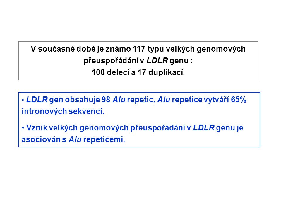 V současné době je známo 117 typů velkých genomových přeuspořádání v LDLR genu :