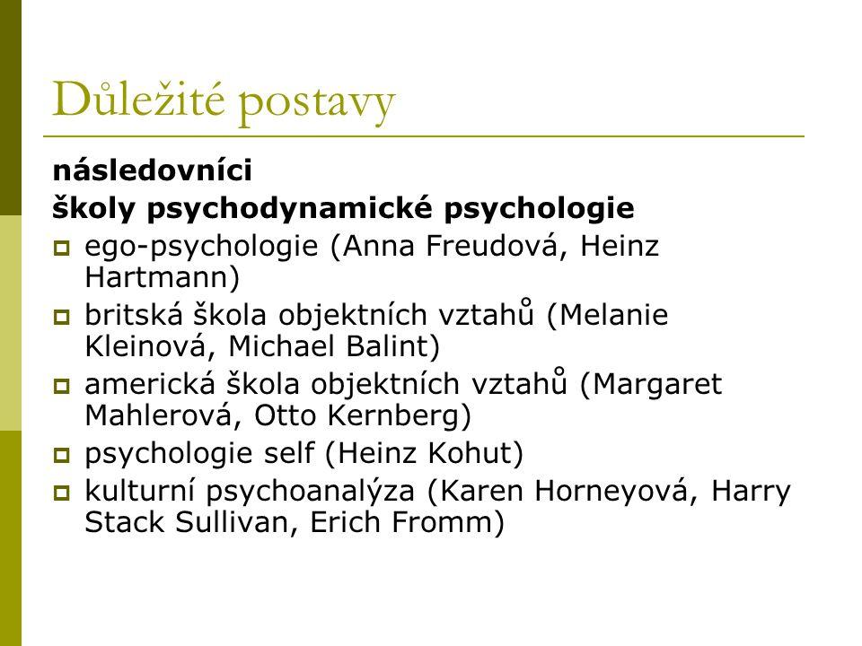 Důležité postavy následovníci školy psychodynamické psychologie