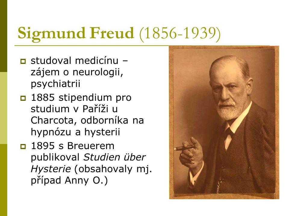 Sigmund Freud (1856-1939) studoval medicínu – zájem o neurologii, psychiatrii.