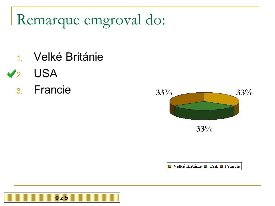 Remarque emgroval do: Velké Británie USA Francie 0 z 5
