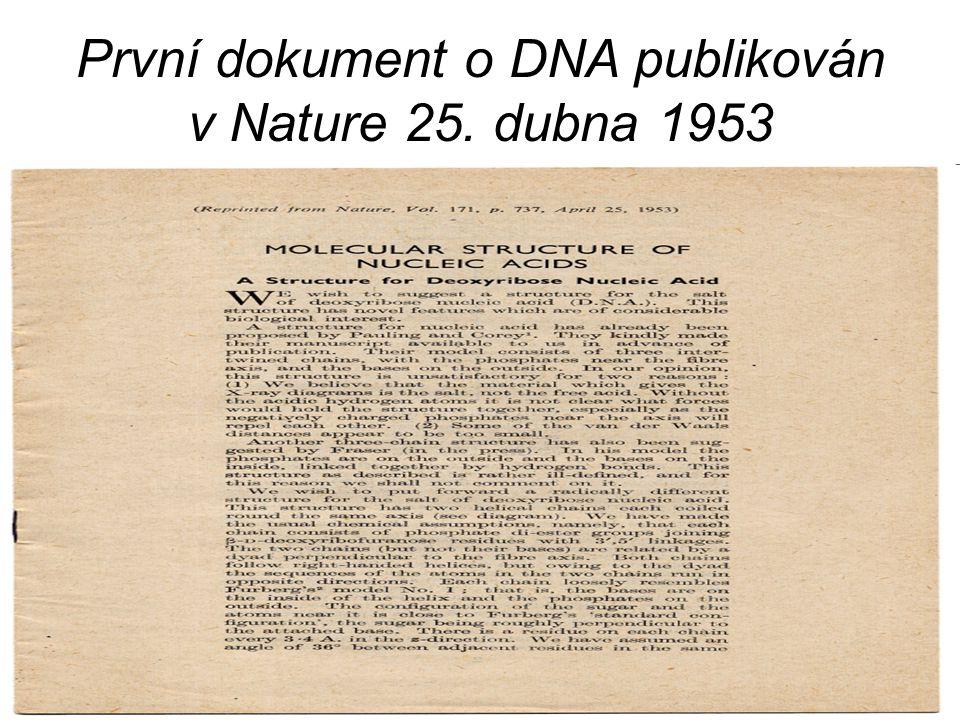 První dokument o DNA publikován v Nature 25. dubna 1953
