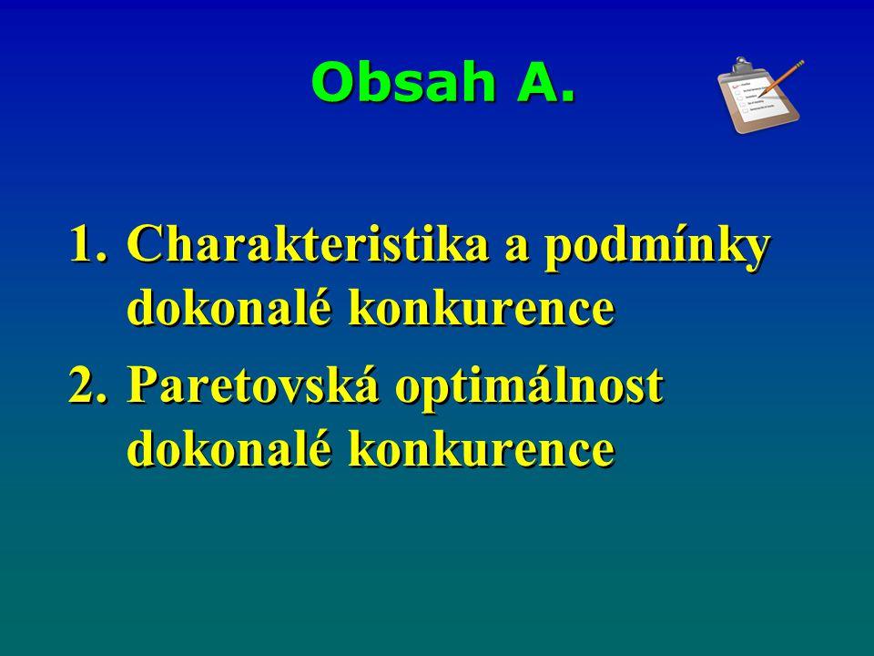 Obsah A. Charakteristika a podmínky dokonalé konkurence Paretovská optimálnost dokonalé konkurence