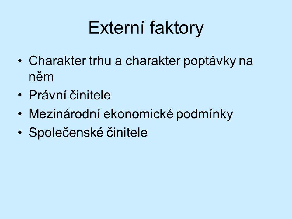 Externí faktory Charakter trhu a charakter poptávky na něm