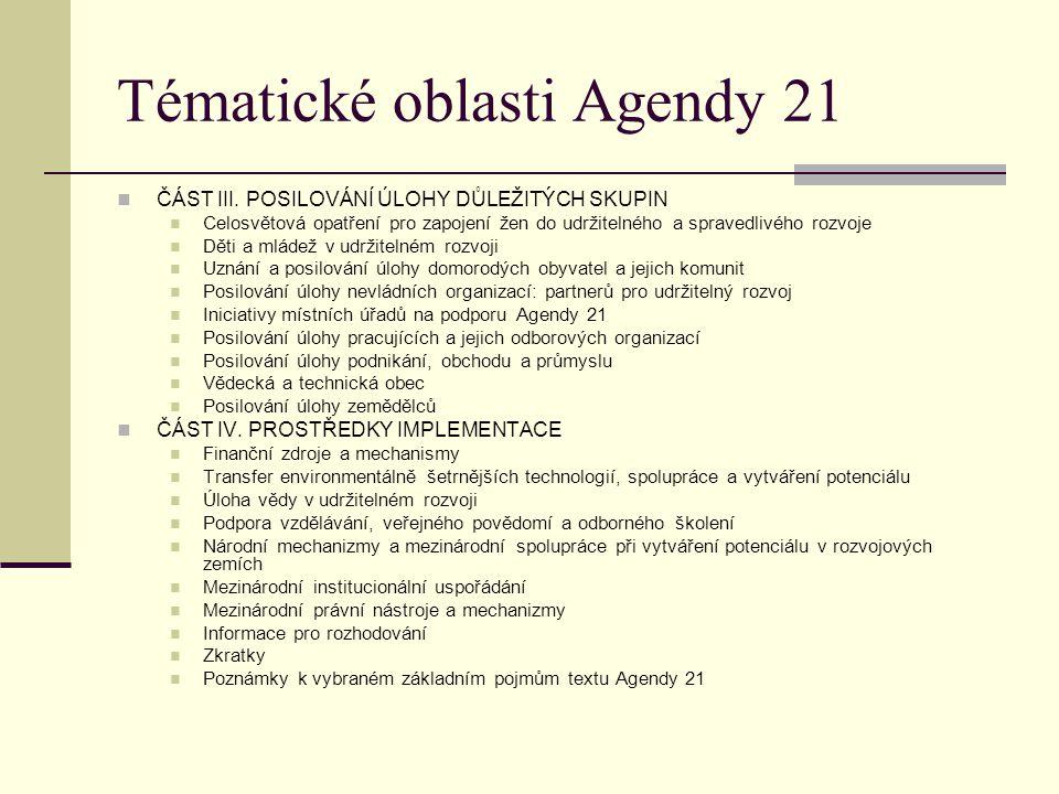 Tématické oblasti Agendy 21