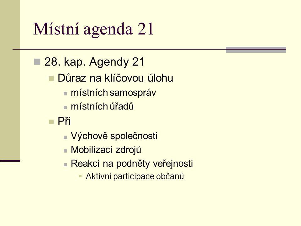 Místní agenda 21 28. kap. Agendy 21 Důraz na klíčovou úlohu Při