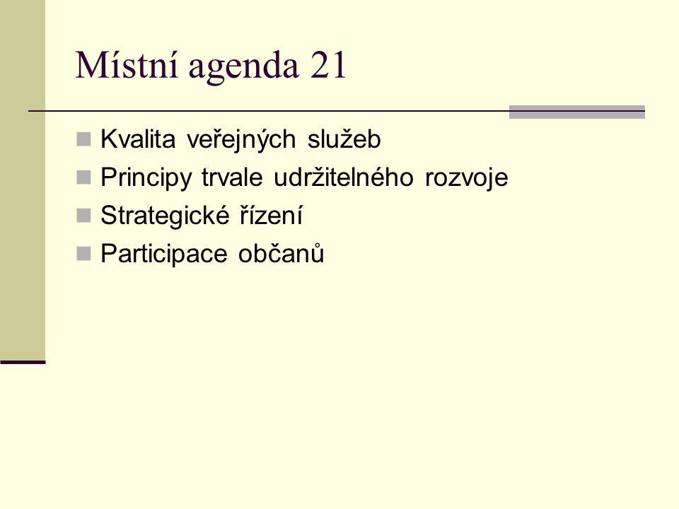 Místní agenda 21 Kvalita veřejných služeb
