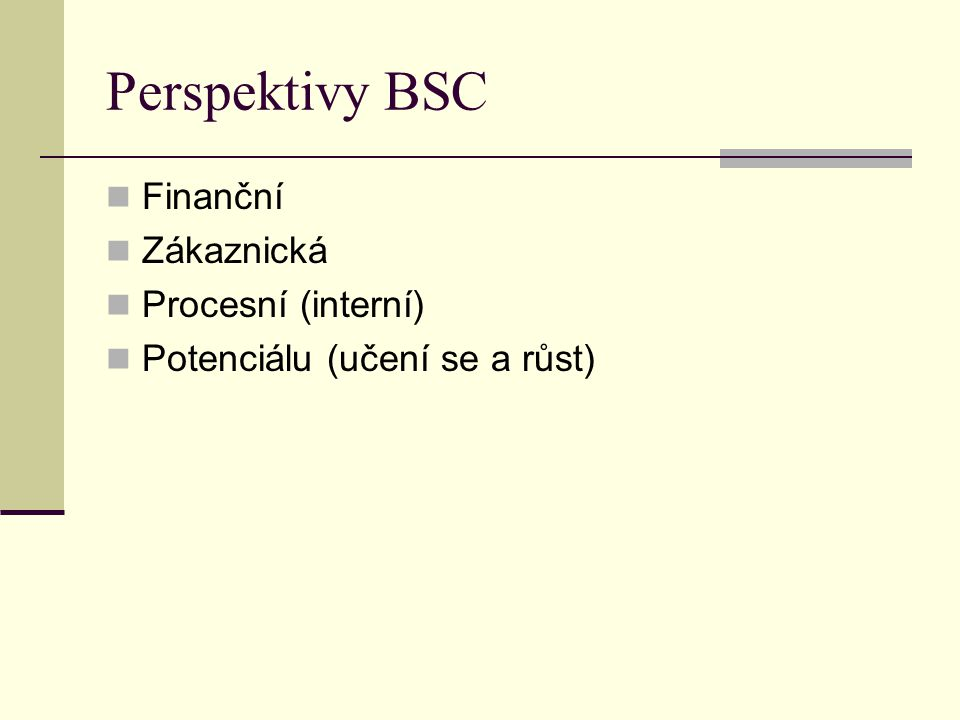 Perspektivy BSC Finanční Zákaznická Procesní (interní)