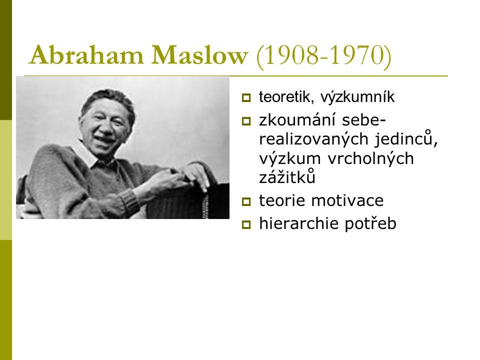 Abraham Maslow (1908-1970) teoretik, výzkumník